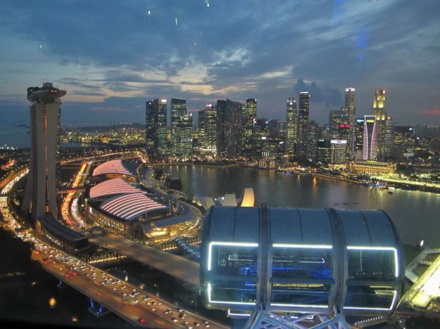 my view of Singapore's cityscape while onboard the Flyer