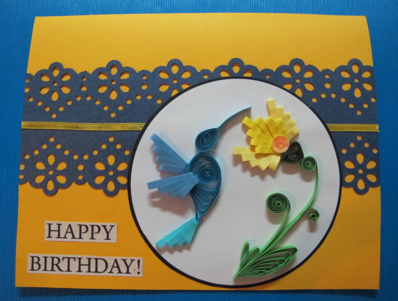 Birthday Card Quilled Hummingbird And Flower Using Combing
