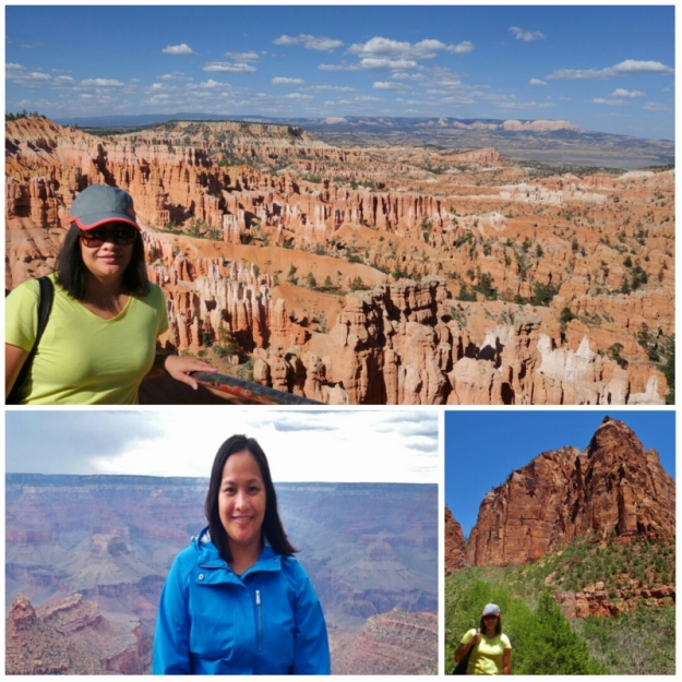 me at Zion National Park, Bryce Canyon, and Grand Canyon