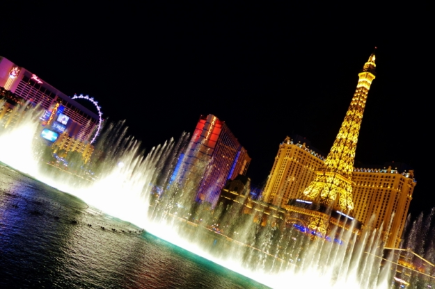 Bellagio's Dancing Waters, with the Las Vegas nightscape as its backdrop